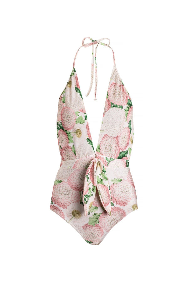 The whimsical ribbon detail that caracterizes this halterneck swimsuit  nods a feminine and vinatge style