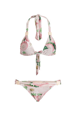 Classic triangle print bikini top with removable bulge and acrylic buckle details, also present in the panties