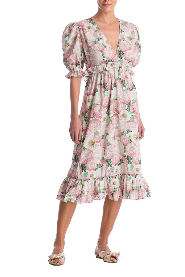 Dahlia Midi Dress With Puff Sleeves