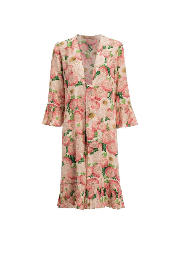 Inspired by vintage movies references, this open robe is made with silk in watercolor hue with pleated sleeves