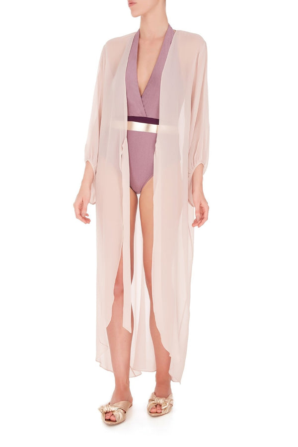 his classic and chic silk long robe ties at waist to define silhouette
