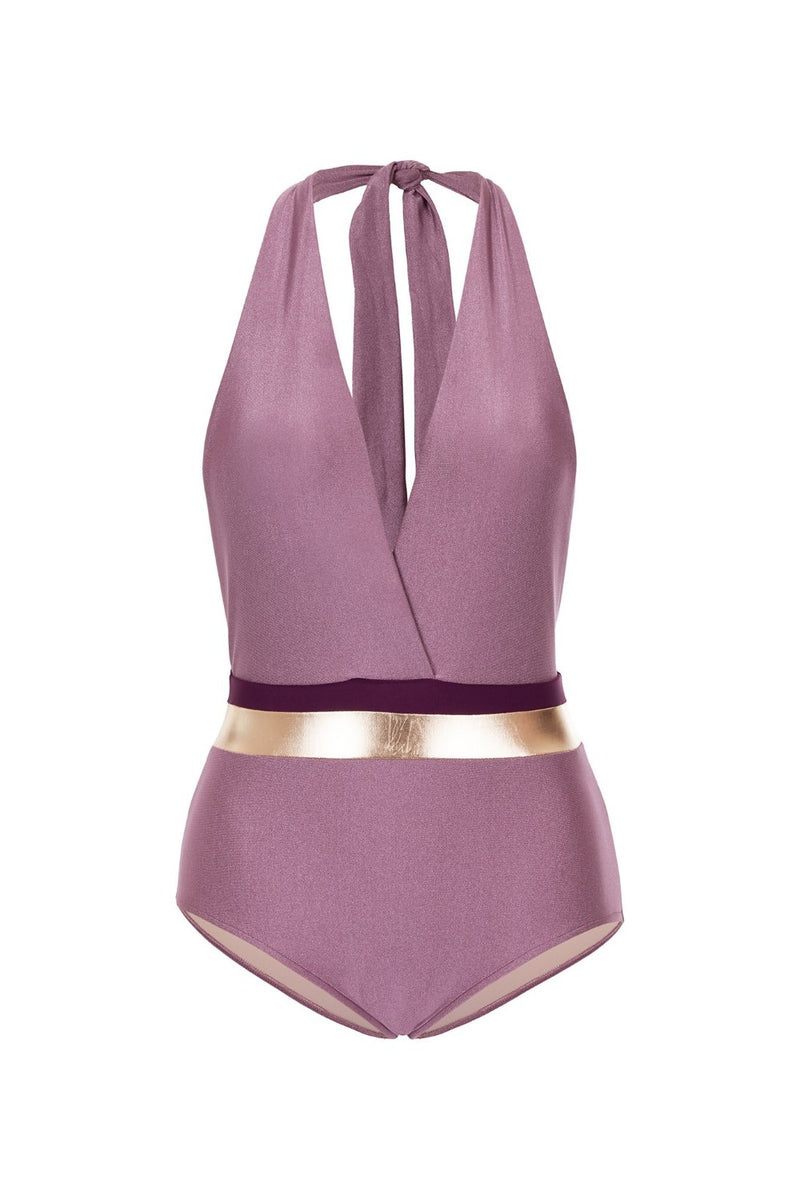 This halterneck swimsuit is perfect for days spent by the pool or on a yacht. This style is cut from stretch fabric and has metallic detail that catches the eye