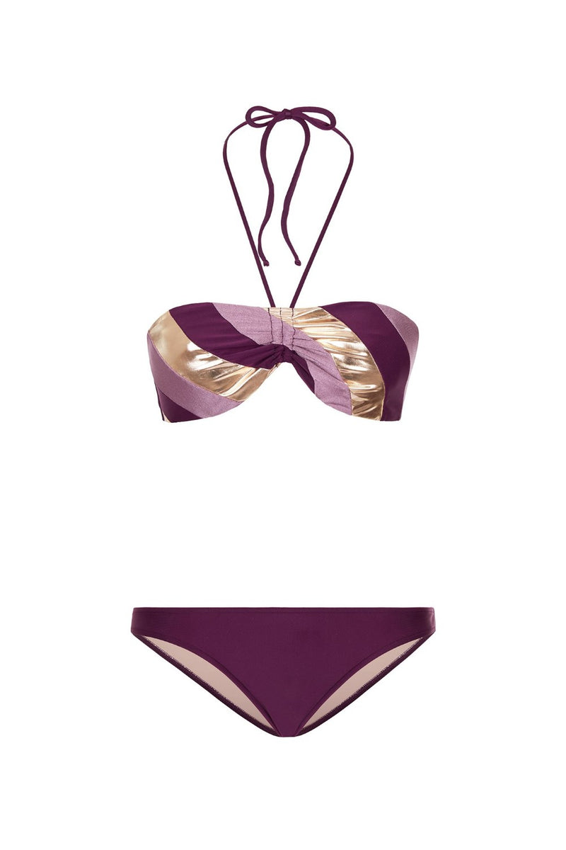 his glamourous bikini is inspired by ´70s swimwear. Made from stretch fabric and metallic details, this top bandeau style is best suited for those with smaller busts