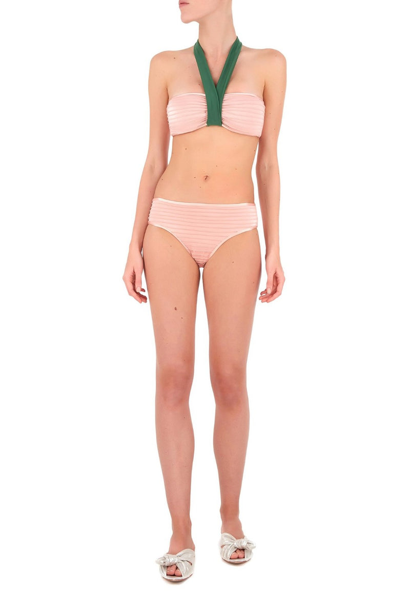 This halterneck top bandeau bikini is designed to support smaller busts and the plissé gives Couture finish to the piece.