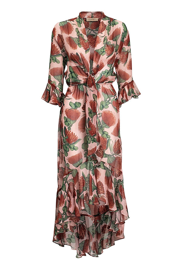 This red and pink floral-print dress is crafted from silk with a tie-front V-neck and falls to a long loose skirt