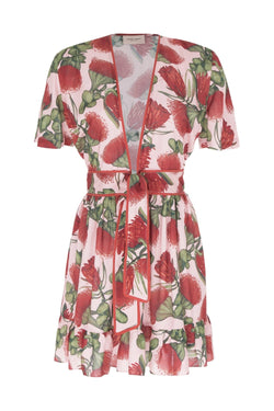 This fresh dress is made from viscose in shades of pink, red and green