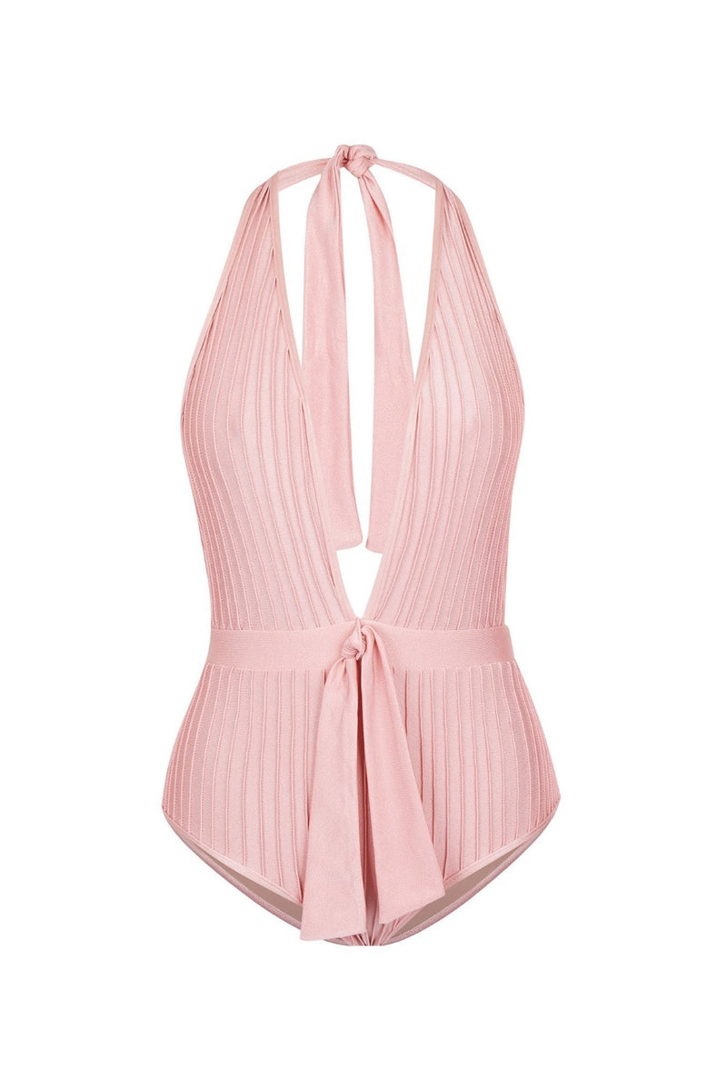 This halterneck swimsuit is shaped with fine stretch fabric with front knot detail and low back