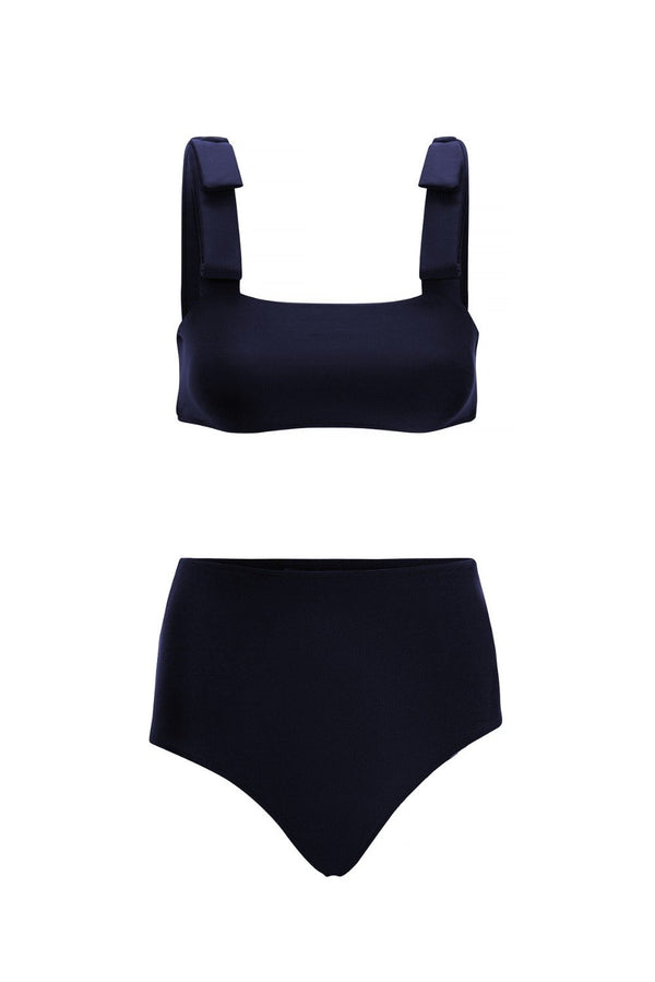 Classic and romantic style bikini has a flattering square neckline while the high-rise briefs are perfect for those who prefer fuller coverage