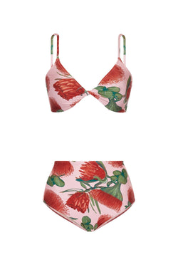 Inspired by retro styles, this bikini has a flattering silhouette with high-rise briefs and a twisted top for those who prefer a fuller coverage