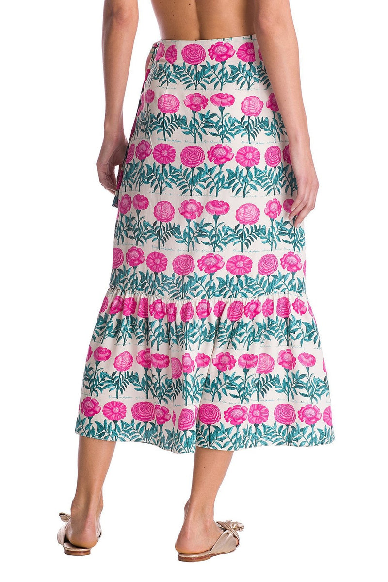 This pareo skirt is printed with an unique and vintage print