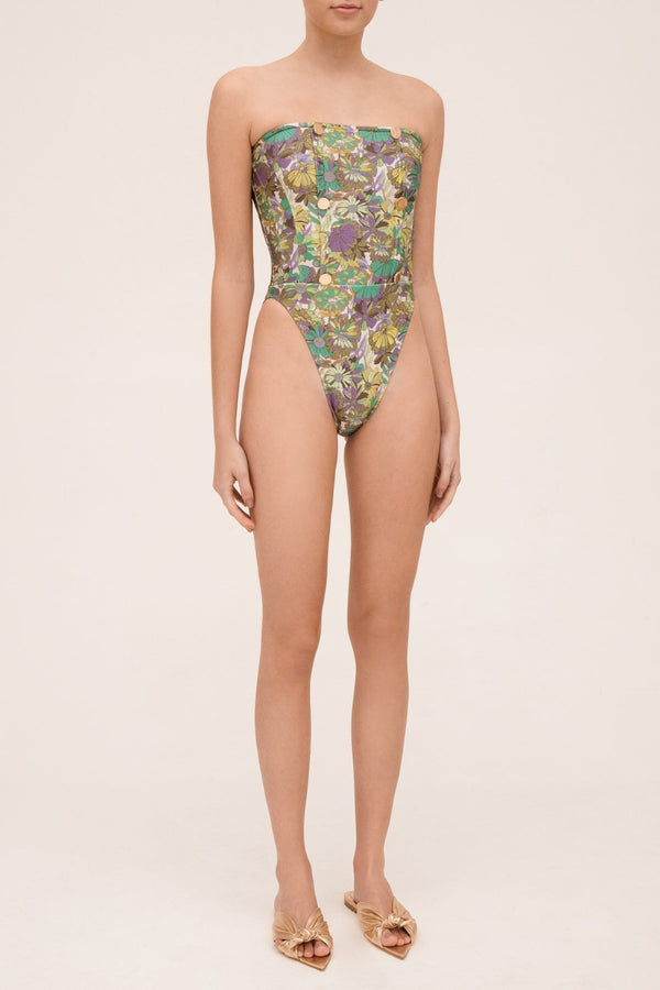 Flower Bloom High-leg Strapless Swimsuit With Buttons