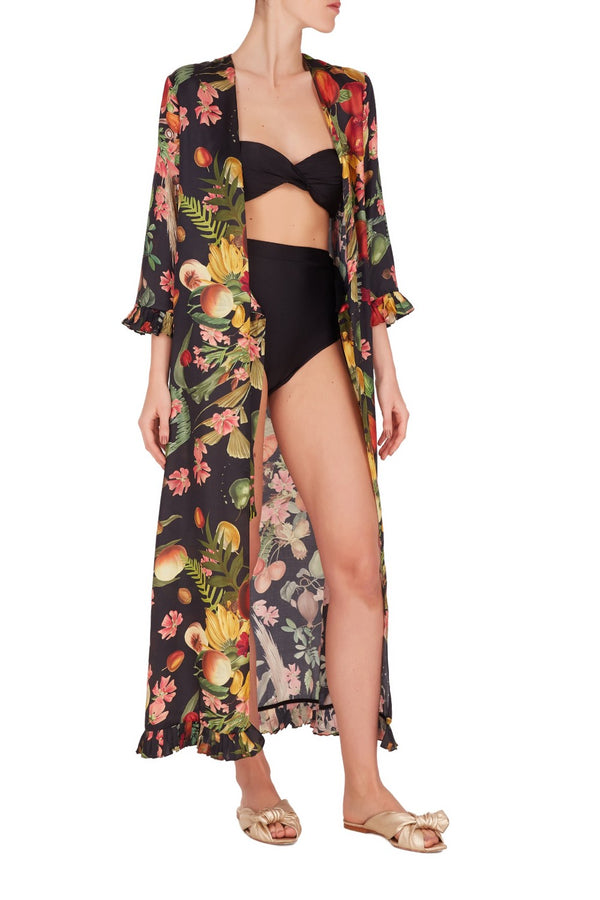 This robe is printed with exotic flowers and fruits and features pleated cuffs and waist ties to define the silhouette
