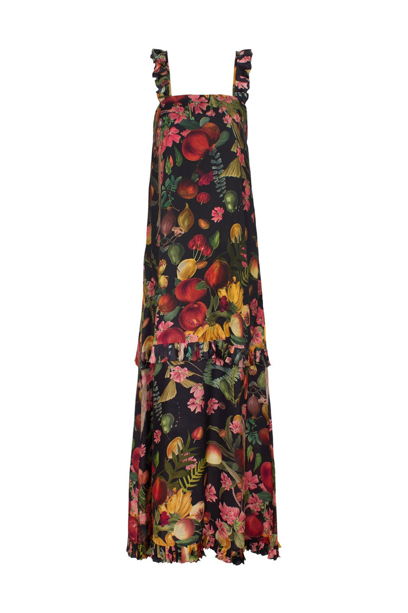The Fruits Exotics oversized long dress is crafted from silk viscose blend with plates along the hemline panel and bottom line