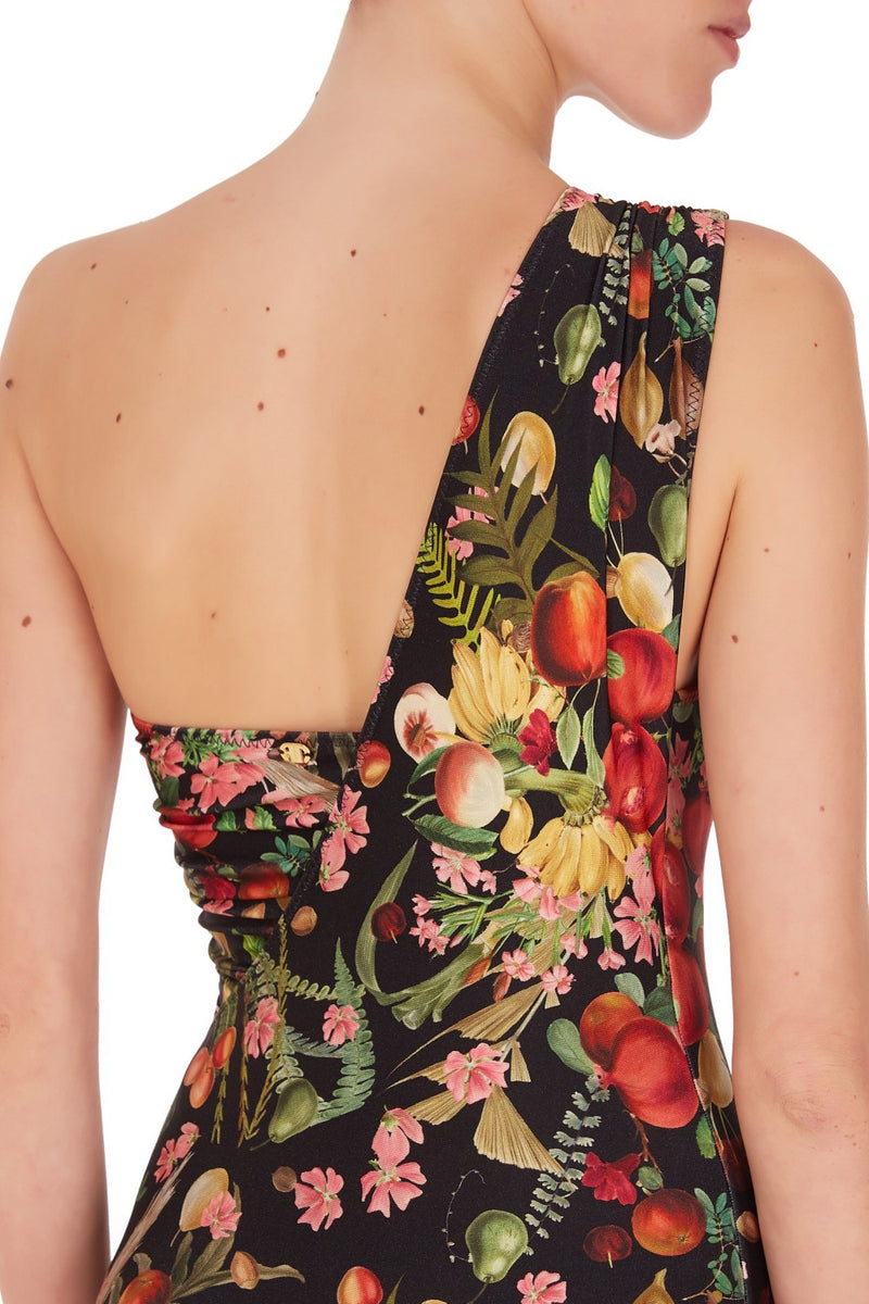 This retro style and timeless one-shoulder swimsuit is cut from stretch fabric with a ruched strap and asymmetric back