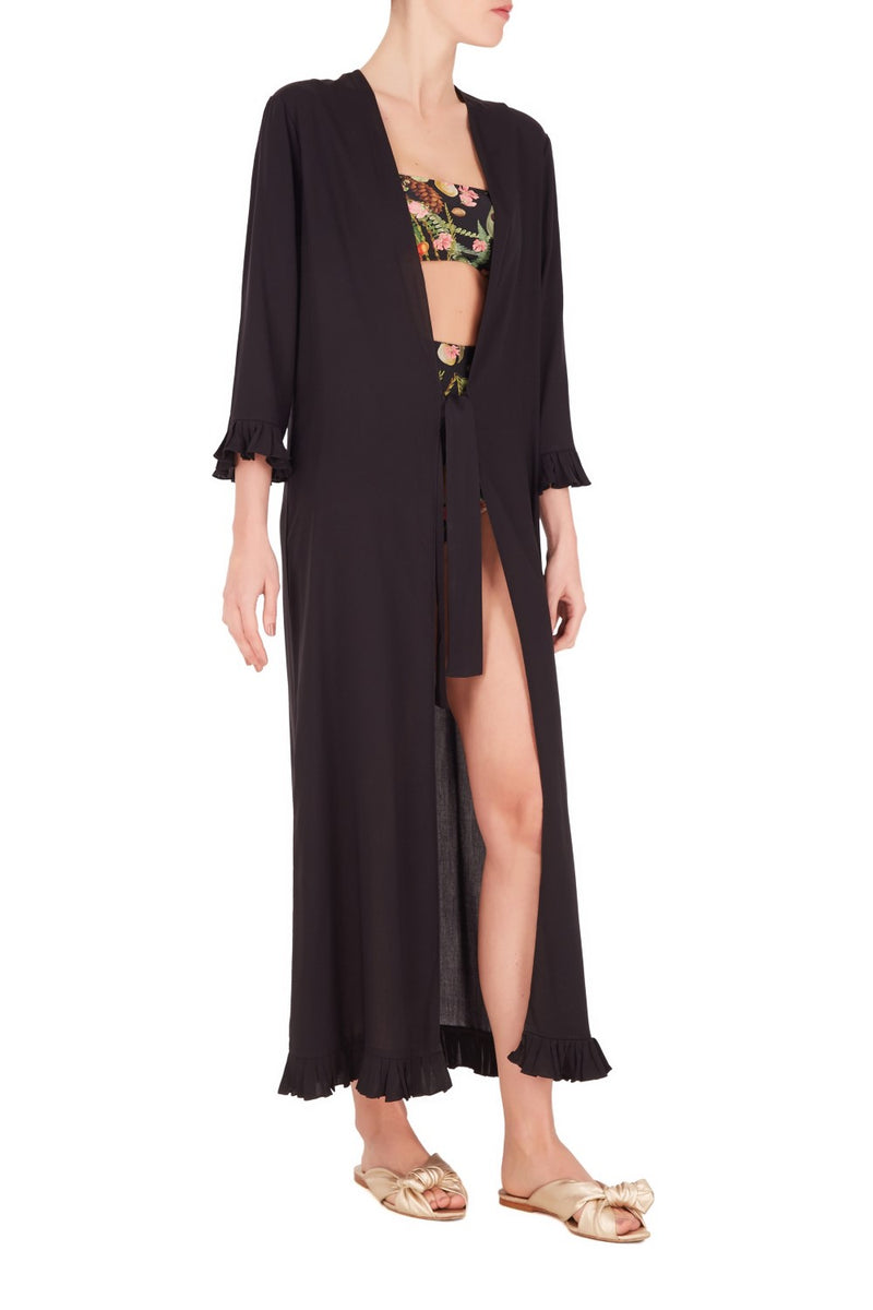 This robe classic, sophisticated piece and features pleated cuffs and waist ties to define the silhouette