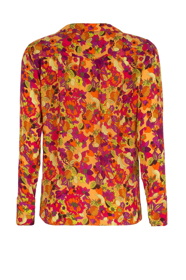 The retro fruit inspired silk shirt is shaped with a wide point collar, deep V- neck and waist ties for a flexible fit