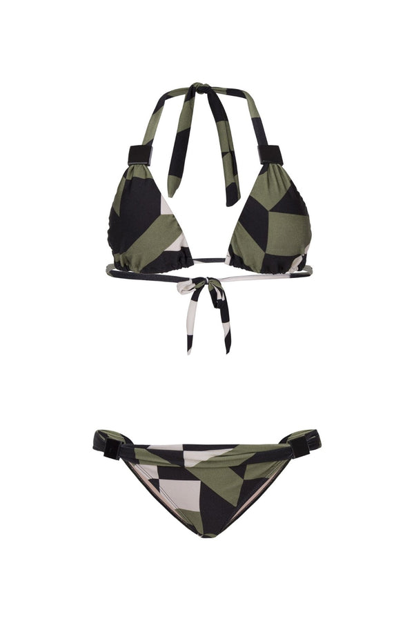 This geometric print bikini is part of the label's basic-lined collection