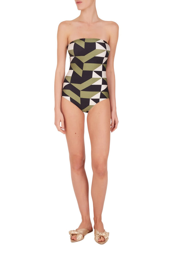 Think about effortless chic pieces that are elegant to wear day and night like this geometric printed strapless swimsuit