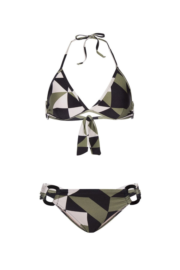 DeColorated with geometric print inspired from 1920's Art Deco movement, this version of triangle bikini is cut from stretch fabric and has top and low-rise briefs that are both detailed with resin buckle. Wear it with pareo skirt and basket bag after the beach
