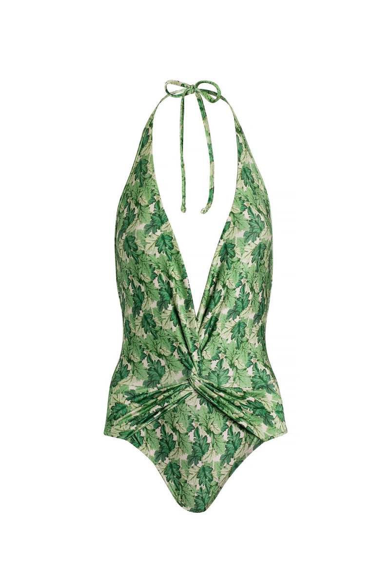 This haletrneck swimsuit is made in the designer's native Brazil from stretch fabric, printed with green dahlia leaves and has a plunging neckline and a low-cut back