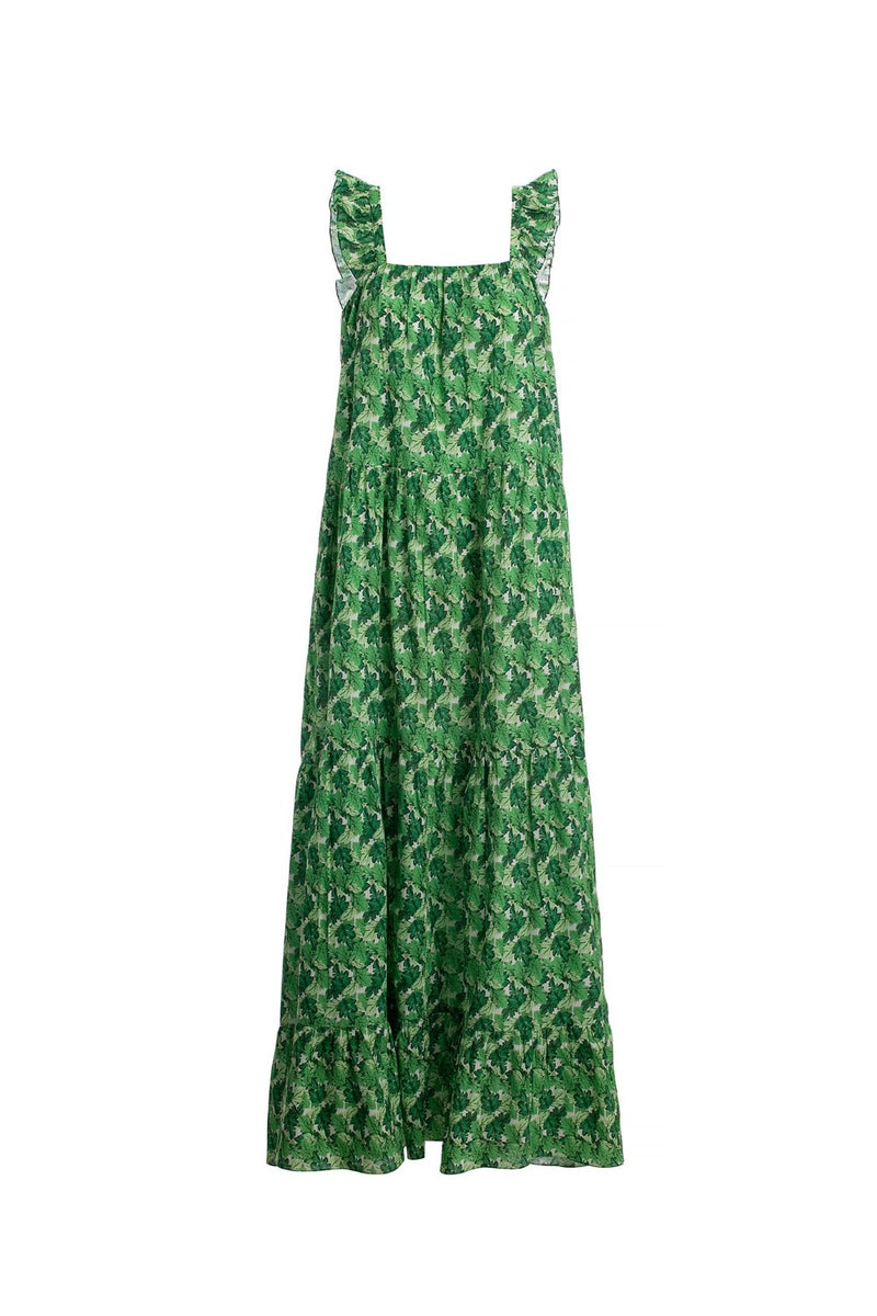 This long dress is made of cotton and shaped for a relaxed fit with a square neckline and slender shoulder straps that are trimmed with coordinating rufles