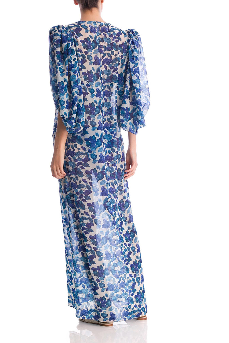 Turquoise Flower Long Robe With Voluminous Sleeves