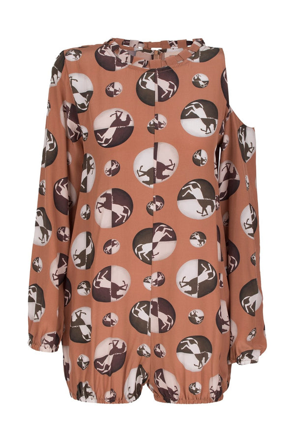 This silk horse pois playsuit is influenced by retro silhouettes