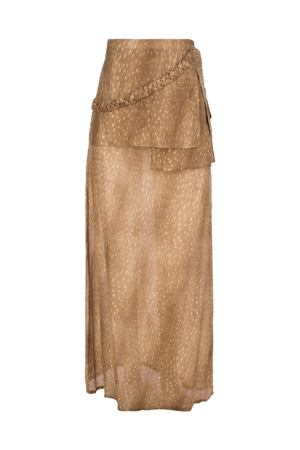 This horse skin print pareo skirt is shaped to wrap around the body and tie at the waist