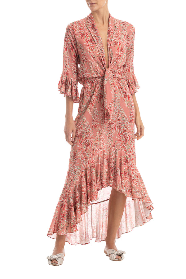 Pink Aloe Ruffled Long Dress With Knot