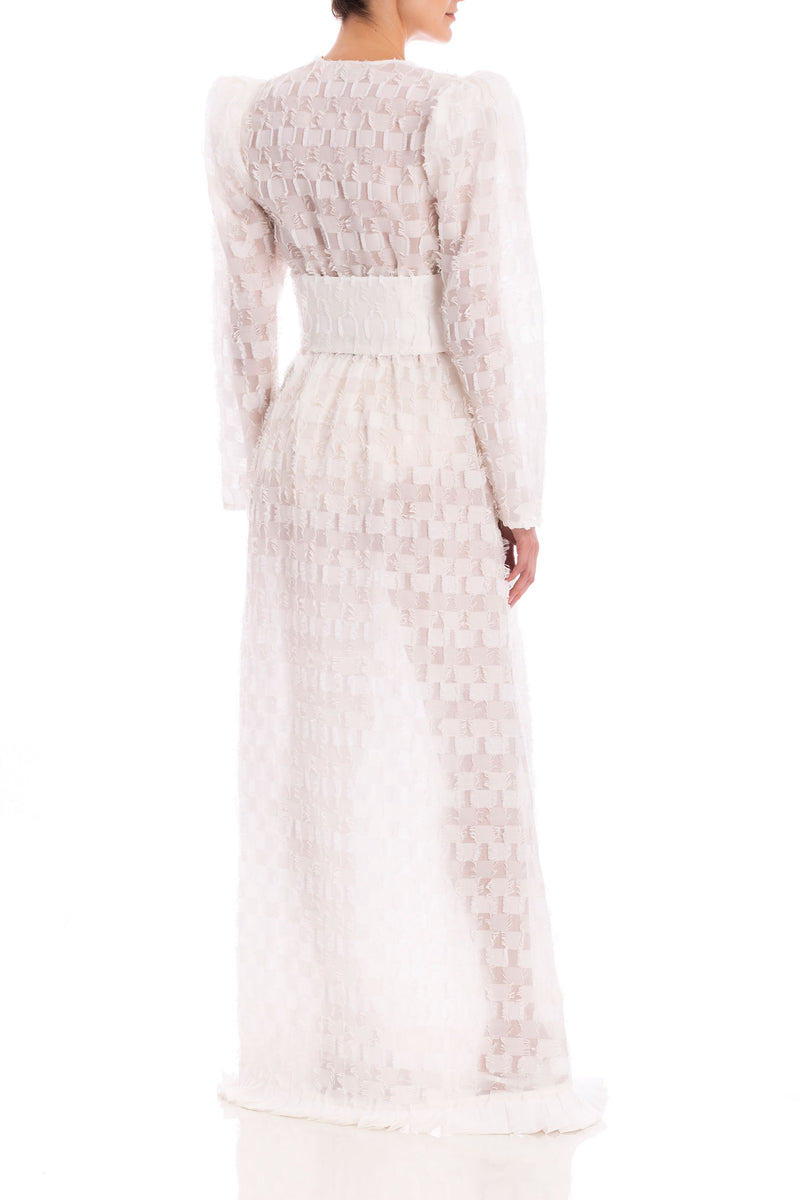 Long Dress with Voluminous Sleeves and Hoop