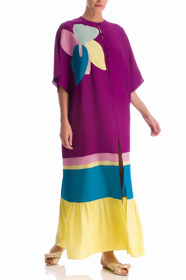 Colorful Flowers Long Kaftan