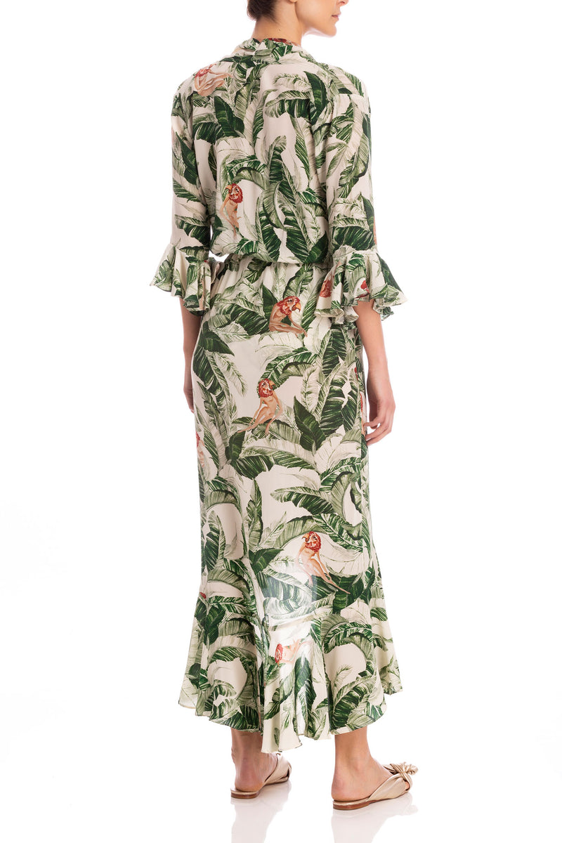 Cult Gaia Tropical Long Dress With Knot