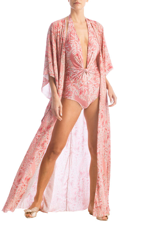 Pink Aloe Long Robe With Sash
