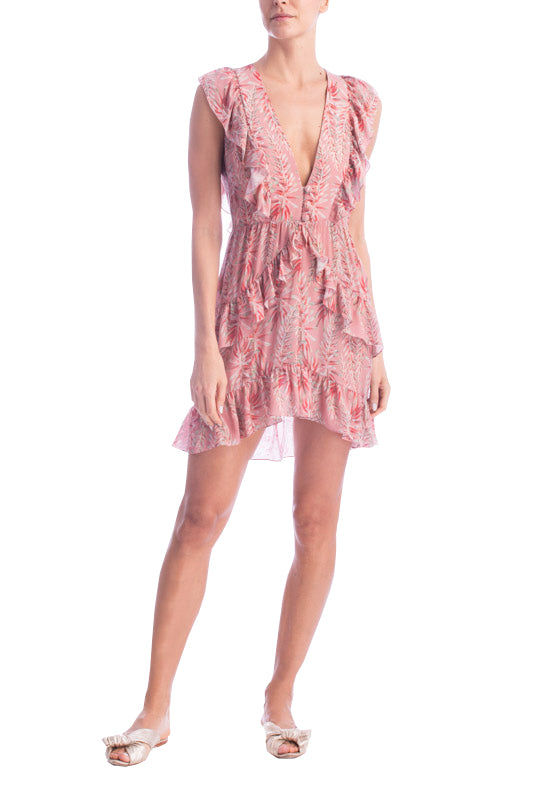 Pink Aloe Ruffled Short Dress