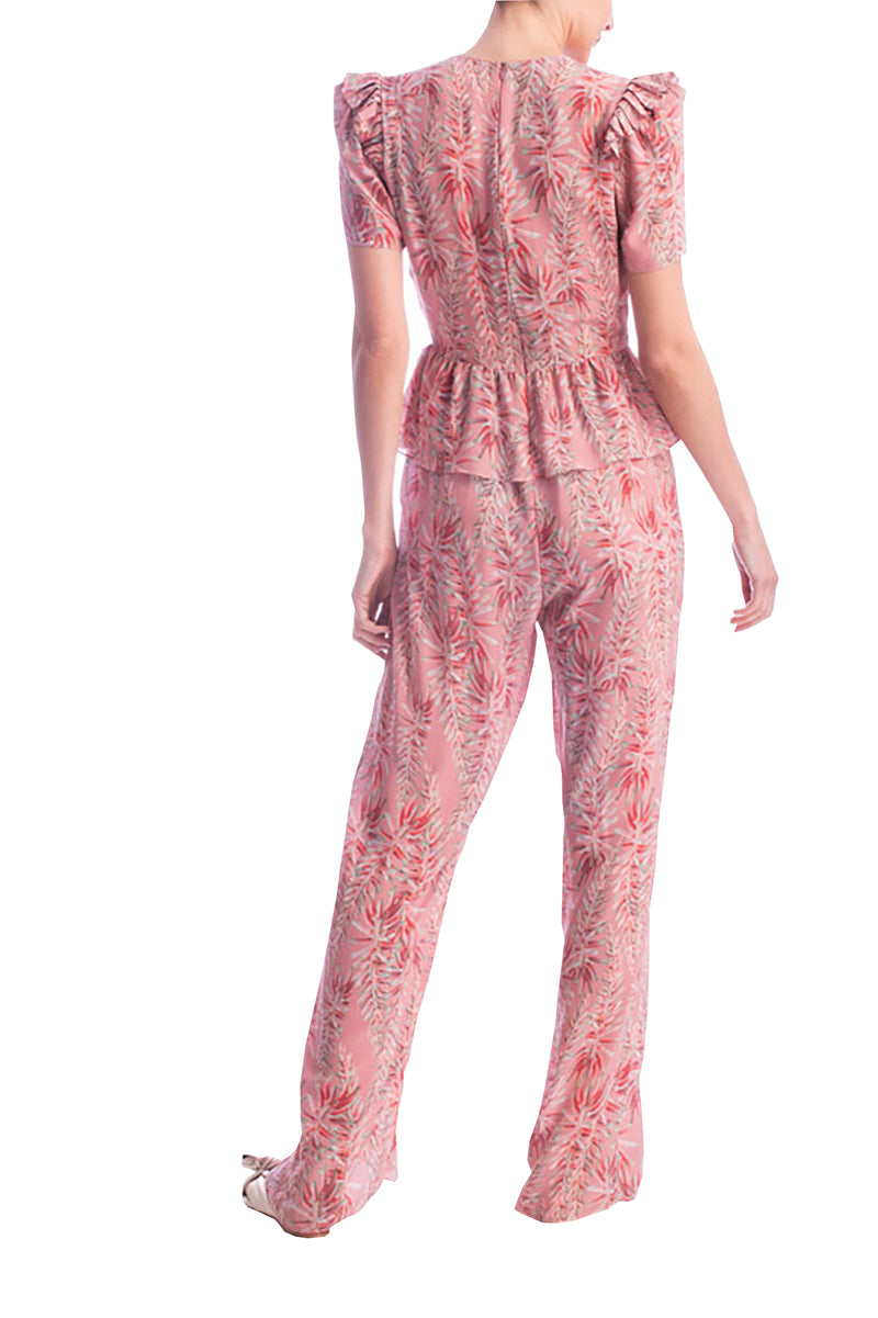 Pink Aloe V Neck Ruffled Jumpsuit