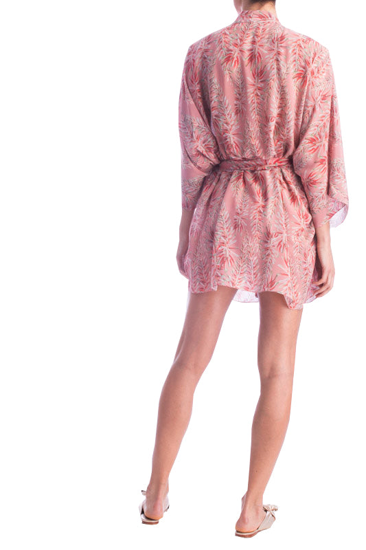 Pink Aloe Short Silk Robe With Sash