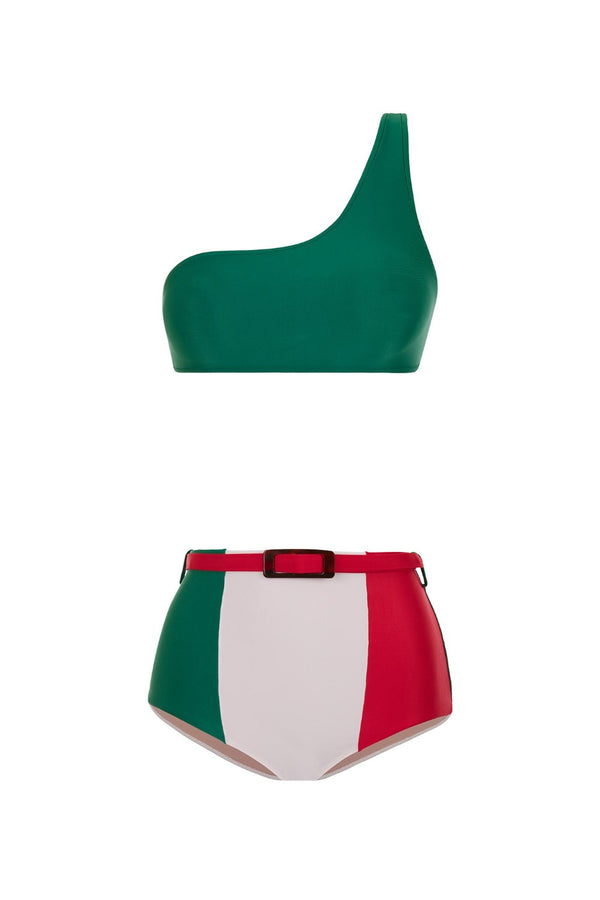 This one shoulder bikini is made in Brazil designed to create a flattering silhouette. It´s made from stretch fabric and has a matching removable belt