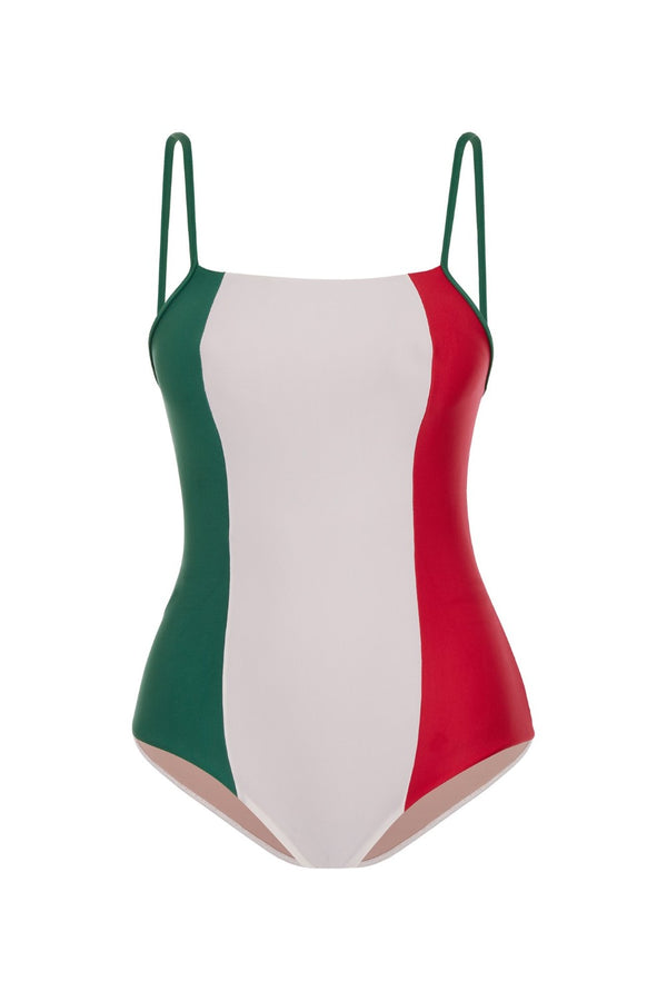 This tricolor swimsuit is inspired by the Italian flag and has a flattering square neckline with slim straps – it is an ideal choice for active days at the beach