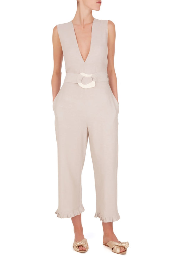 The chic lightweight linen-blend jumpsuit that comes with the matching belt with resin buckle detail has inspirations from vintage references from 1970's style