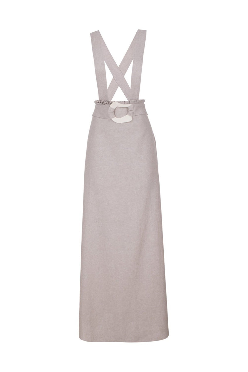 Made from linen-blend, this wide-straps long dress is detailed with ruffles and a matching belt with an asymmetric resin buckle detail