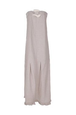 Look for lightweight linen-blend pieces like this strapless and elegant easy-chic dress for balmy evenings