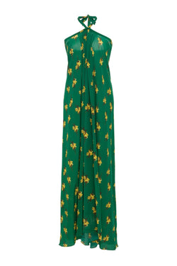 This halterneck long dress is made from lightweight silk and moves so gracefully when you walk