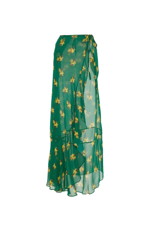 Josephine Baker Print Pareo Long Skirt With Ruffles