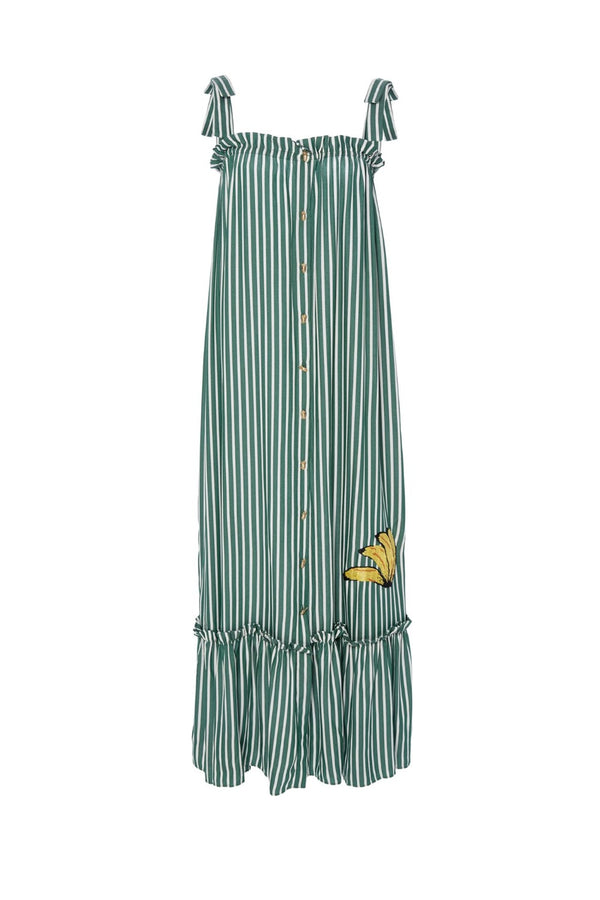Inspired by South American roots, this white and yellow banana appliqué dress gives a fresh and elegant touch to your vacation wardrobe