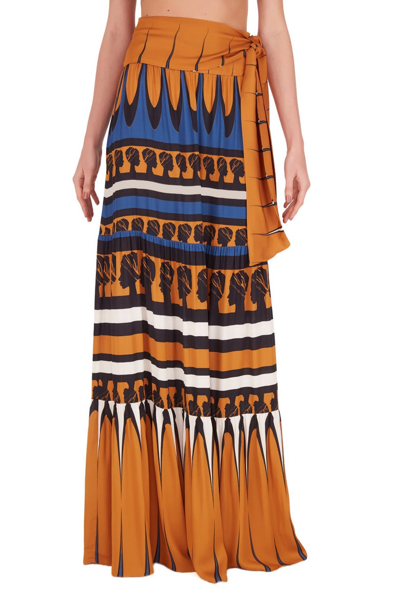 Crafted from viscose this waist-tie skirt is cut to a high-rise silhouette and features La Africana head in blue, yellow and black