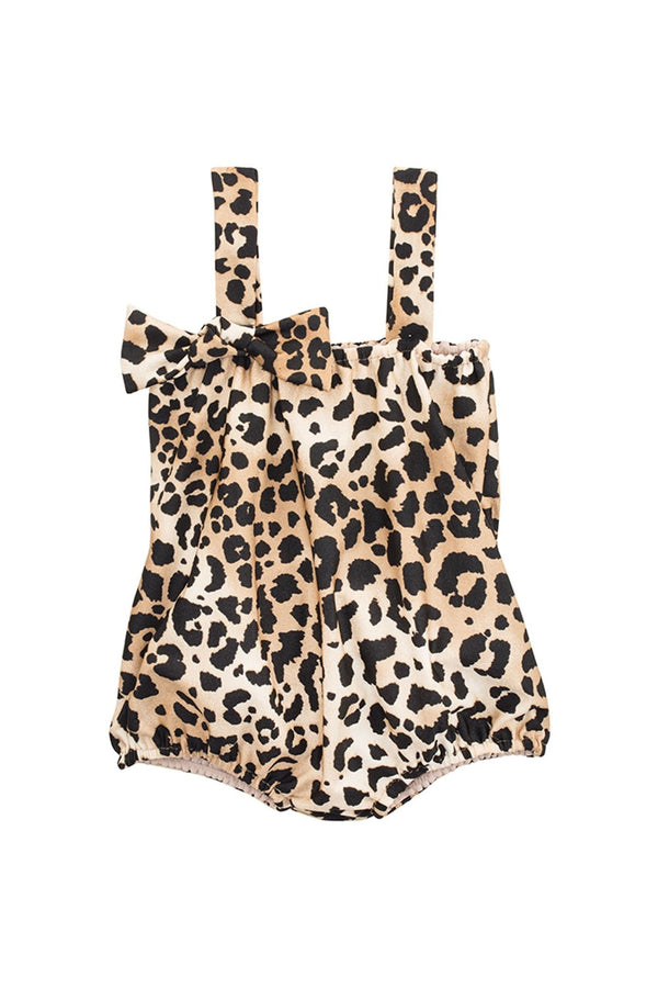This cute leopard print playsuit is made from stretch fabric in a loose shape very comfortable for kids