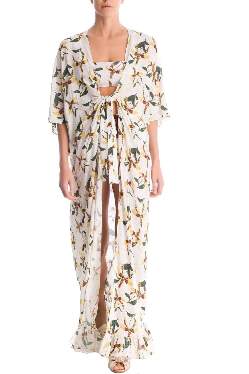 Adriana Degreas is known for her mesmerizing and exotic prints. Made of viscose, this long kaftan is cut from lightweight fabric and deep V-neck. Wear it over swimwear as a cover up with falt sandals