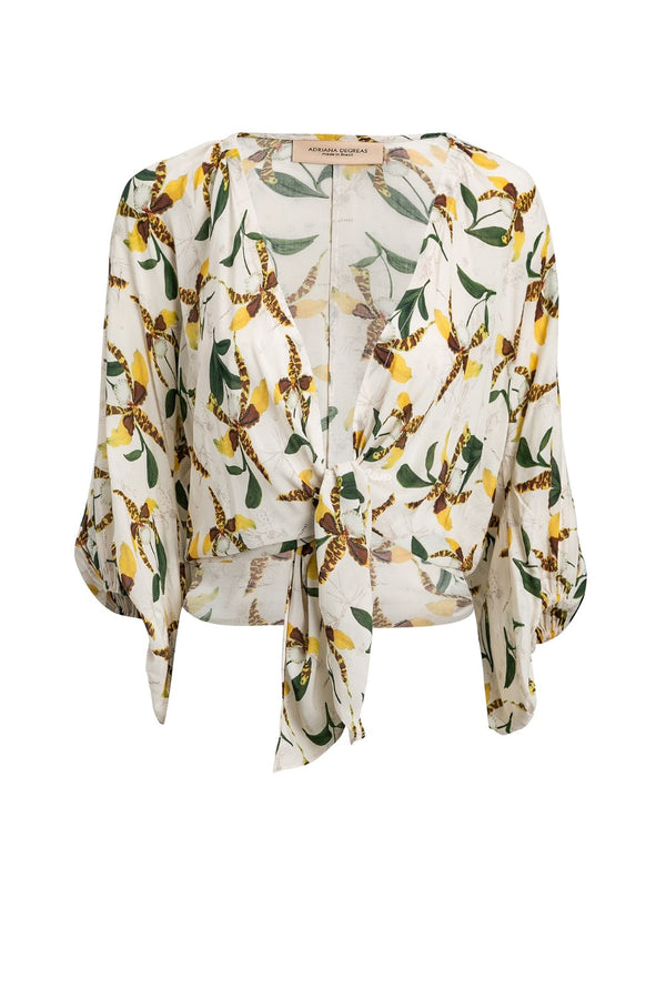 Leopard Orchid Shirt With Voluminous Sleeves