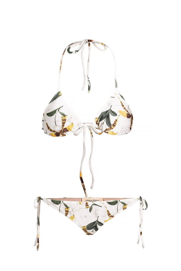 This bikini with removable padding and side ties features a vintage inspired botanical print and is perfect for summer days