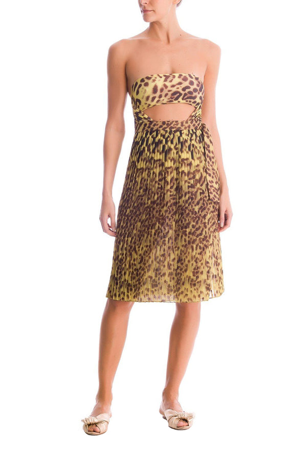 Leopard Print Pleated Pareo Skirt